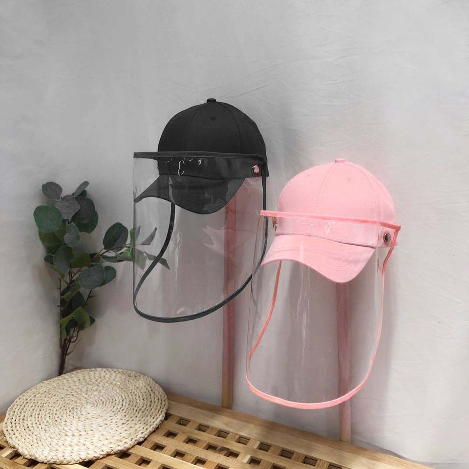 2X Outdoor Protection Hat Anti-Fog Pollution Dust Saliva Protective Cap Full Face HD Shield Cover Kids Pink