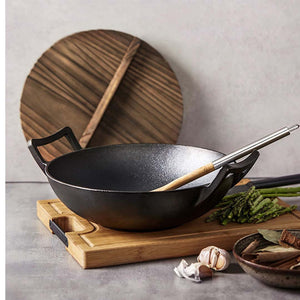 SOGA 2X 36CM Commercial Cast Iron Wok FryPan with Wooden Lid Fry Pan