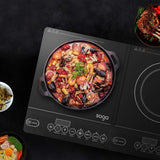SOGA Dual Burners Cooktop Stove, 20cm and 26cm Induction Frying Pan Skillet