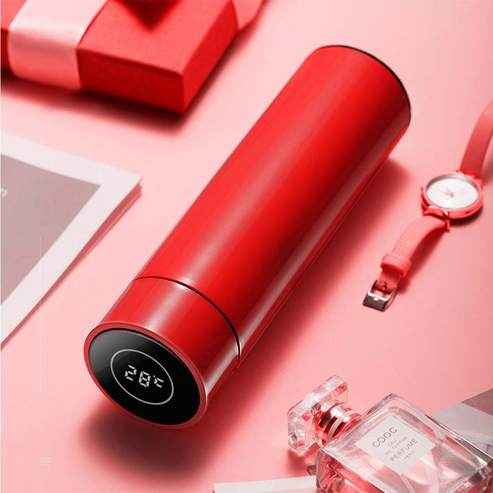 SOGA 500ML Stainless Steel Smart LCD Thermometer Display Bottle Vacuum Flask Thermos Red
