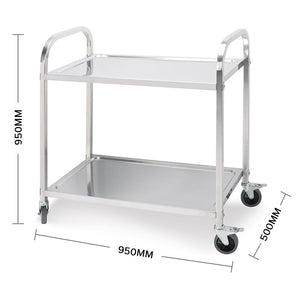 SOGA 2 Tier Stainless Steel Kitchen Trolley Bowl Collect Service FoodCart 95x50x95cm Large