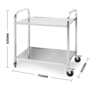 SOGA 2 Tier Stainless Steel Kitchen Dining Food Cart Trolley Utility Size 85x45x90cm Medium
