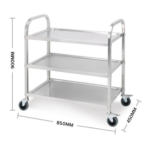 SOGA 3 Tier Stainless Steel Kitchen Dinning Food Cart Trolley Utility Size 85x45x90cm Medium