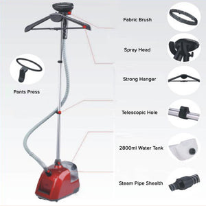 SOGA Garment Steamer Vertical Twin Pole Clothes 2.8L 1800w Professional Steaming Kit Red
