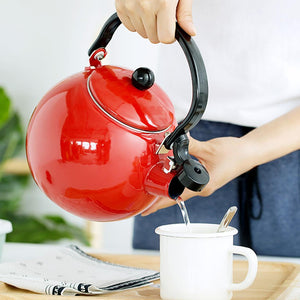 SOGA 2.0 Litre Ceramic  Enameled Porcelain Kettle Kitchen Red
