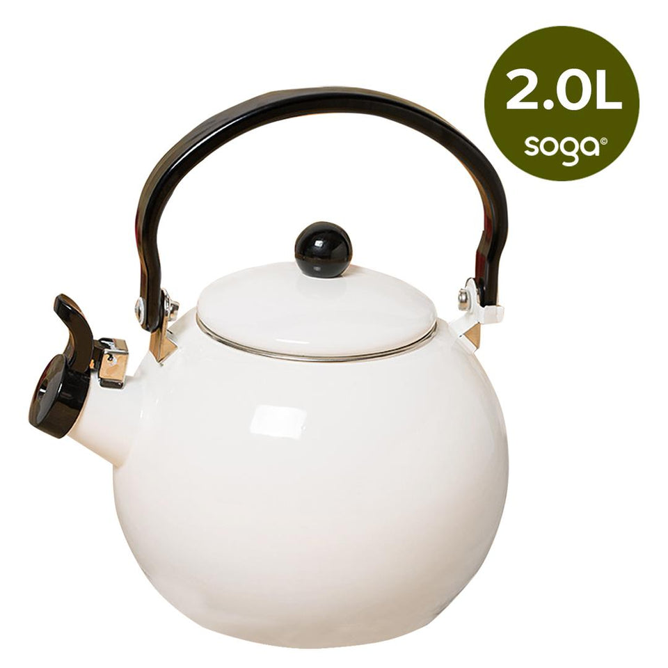 SOGA 2.0 Litre Ceramic Enameled Porcelain Kettle Kitchen White