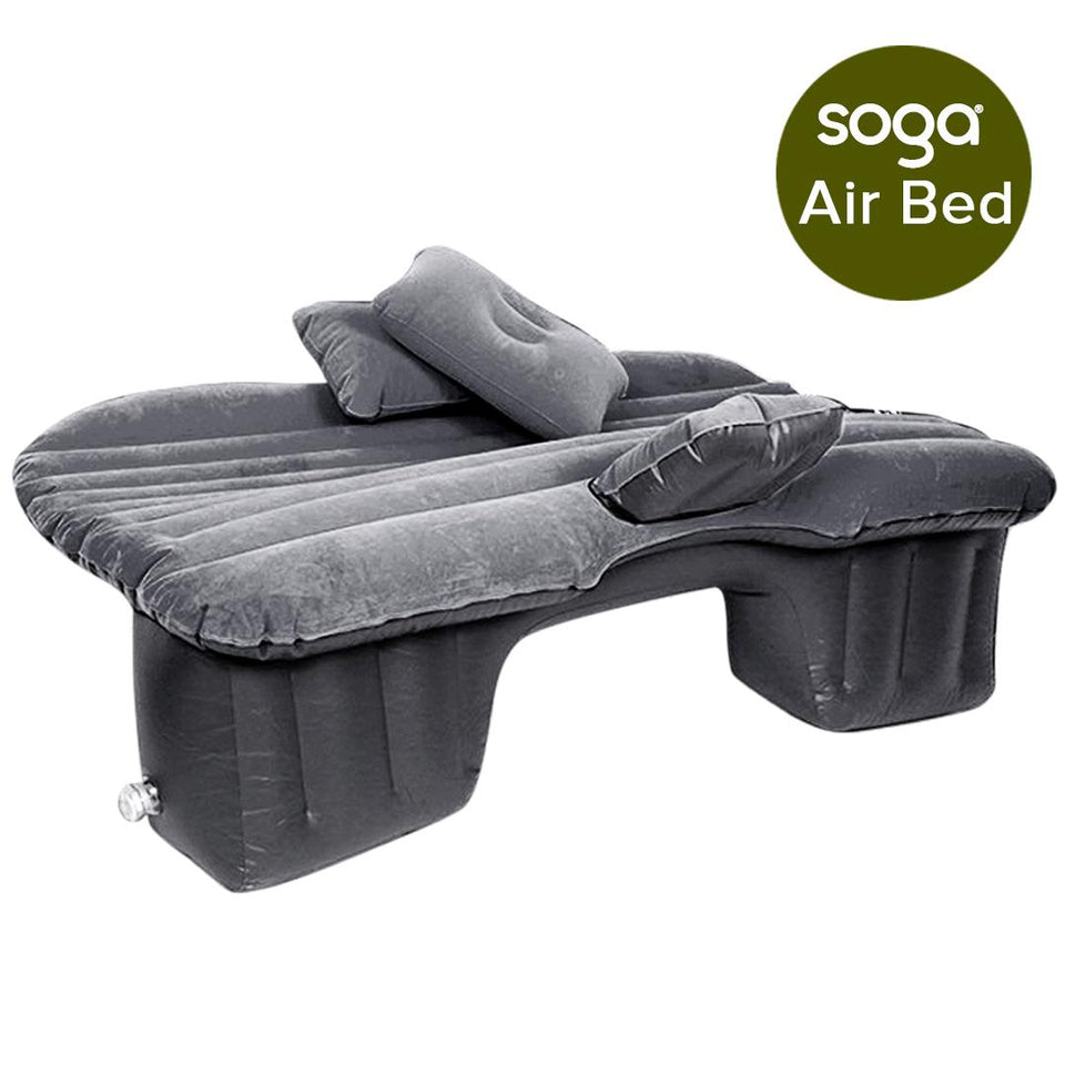 SOGA 2X Inflatable Car Mattress Portable Travel Camping Air Bed Rest Sleeping Bed Grey
