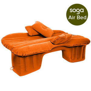 SOGA 2X Inflatable Car Mattress Portable Travel Camping Air Bed Rest Sleeping Bed Orange