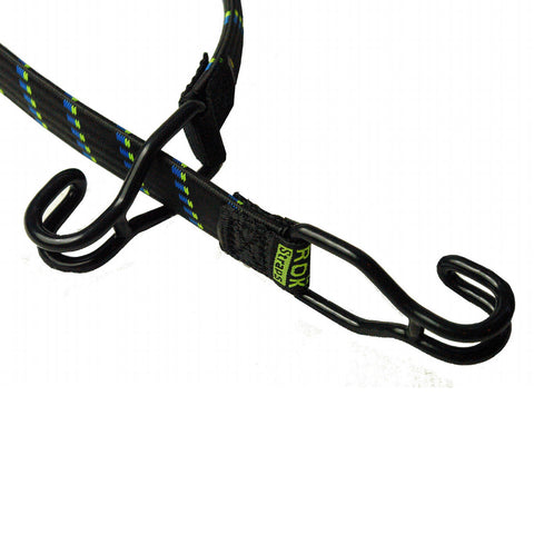 30 x 1 inch Fixed Length Solid Rubber Straps with Polyester Outer and Double Hooks on Each End Black with blue/green stripes
