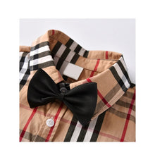 Load image into Gallery viewer, Plaid + Bow Tie Shirt