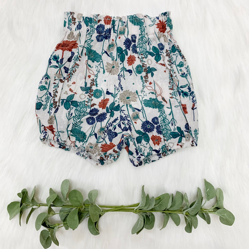 Floral White Shorts