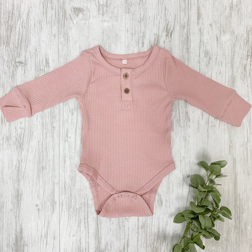 Sweet Ribbed Pink Bodysuit
