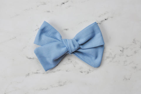 light blue hand tied bow