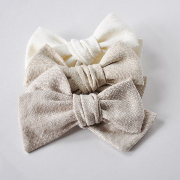 linen hand tied bow
