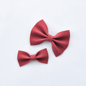 burgundy faux suede bow