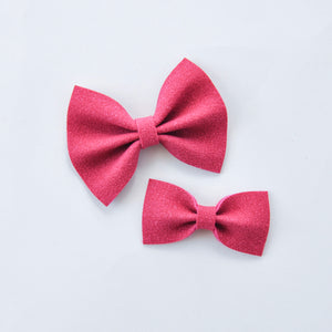 berry faux suede bow
