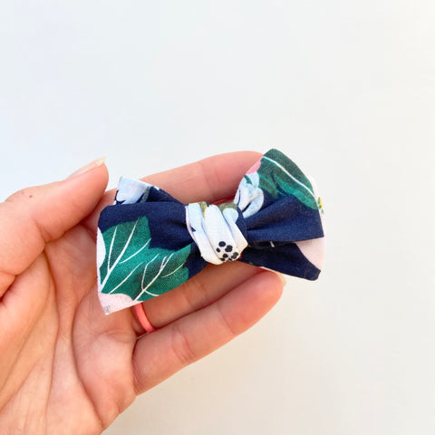 navy floral hand tied bow