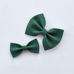 evergreen faux suede bow