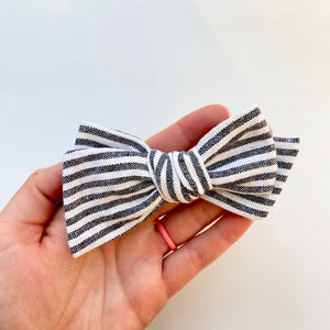 black skinny stripe linen hand tied bow