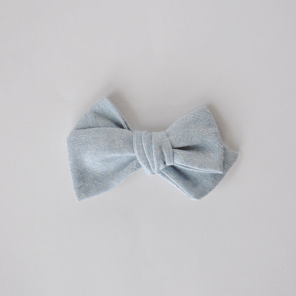 chambray linen hand tied bow