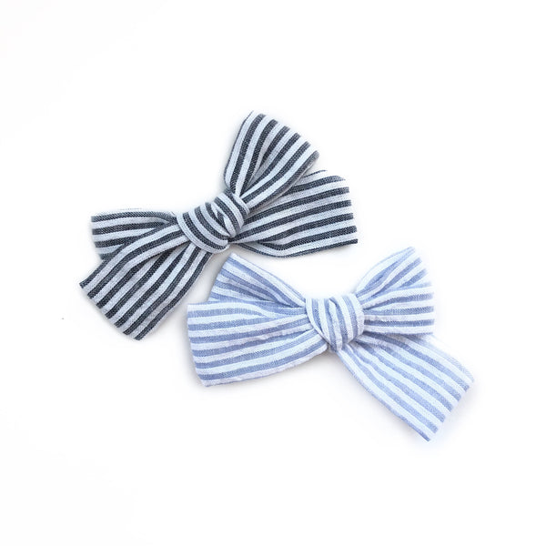 gray seersucker hand tied bow