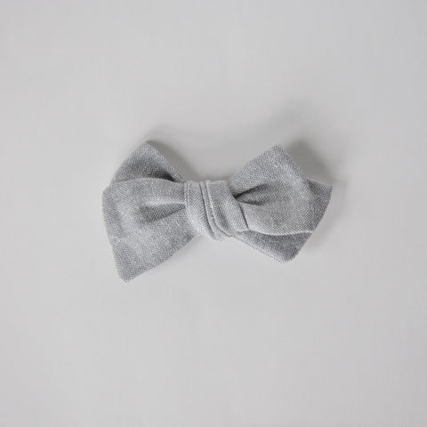 steel linen hand tied bow