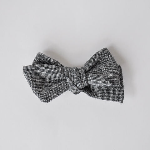 charcoal linen hand tied bow