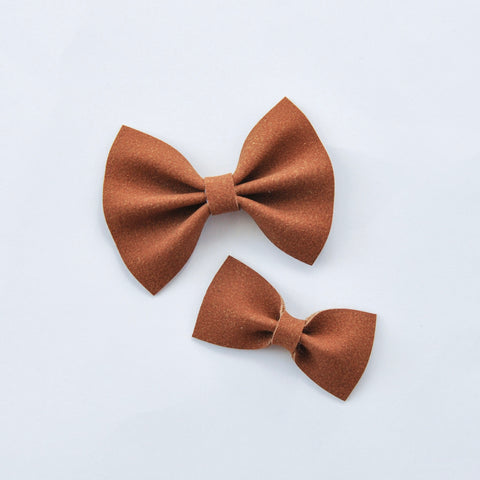 toffee faux suede bow