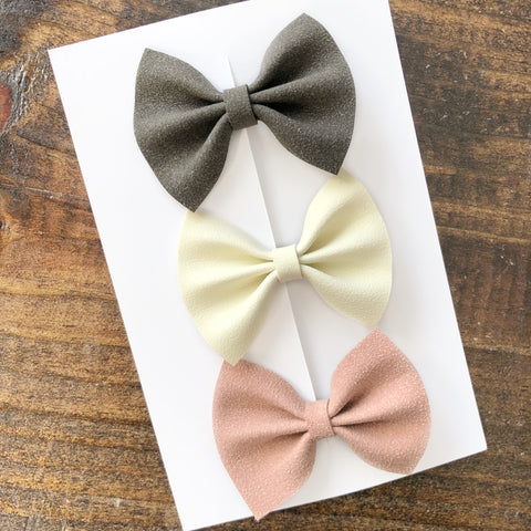 blush faux suede classic bow