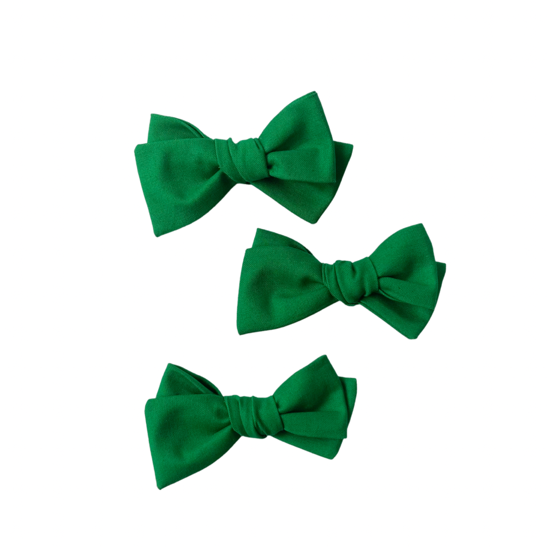 green hand tied bow