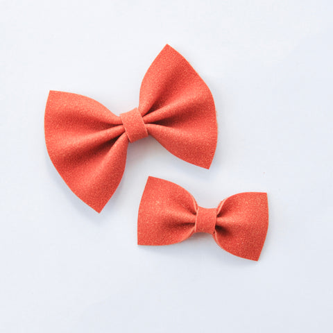 pumpkin faux suede bow