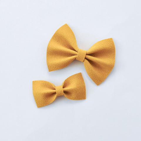 mustard faux suede bow