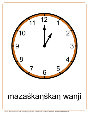 Hour Clock Cards (Lakota)