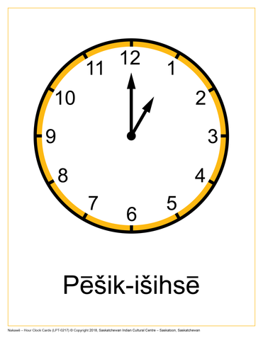Hour Clock Cards (Saulteaux)