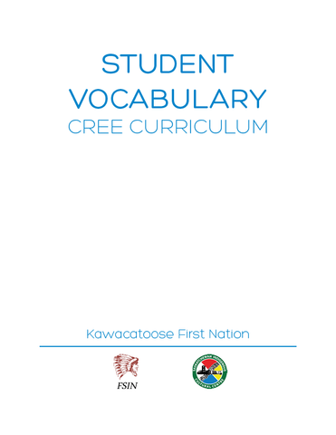 Vocabulary - Kawacatoose Curriculum Guide