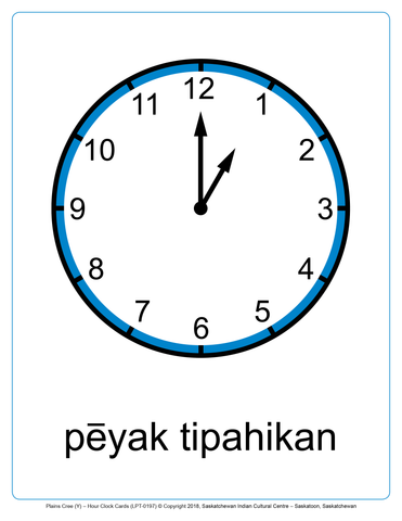 "Hour Clock Cards (Plains Cree Y) 8.5""x11"""