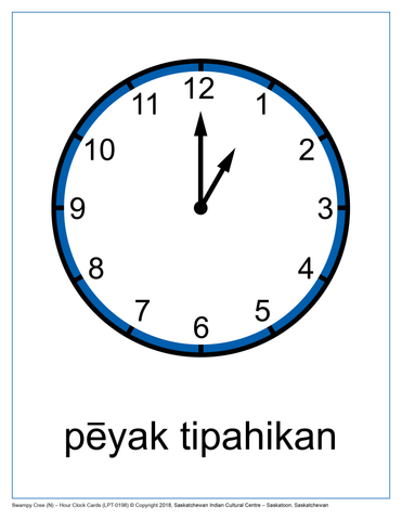 Hour Clock Cards (Swampy Cree N)
