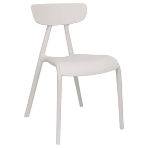 White plastic garden chairs