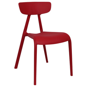 Red plastic garden chairs