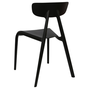 Black plastic garden chairs