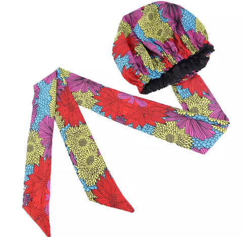 Flower Tribe African Print Satin Lined Bonnet Head Wrap