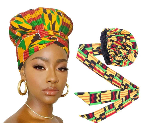 Tribe African Print  Satin Lined Bonnet Head Wrap