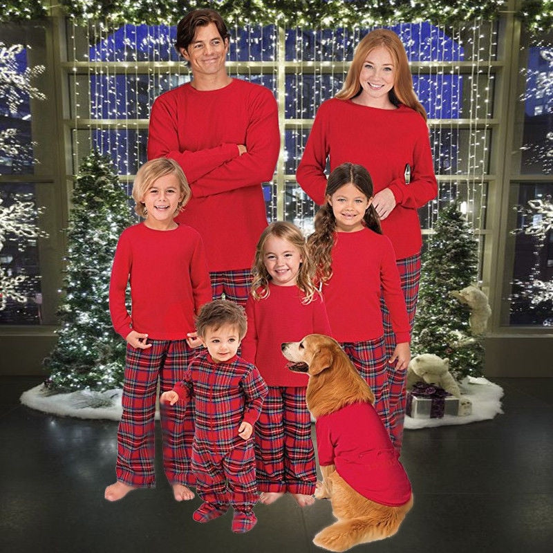 Family Matching Pajamas Set Christmas Mom Father Kid Baby Sleepwear ... fa0a0d7de