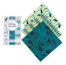 Load image into Gallery viewer, Ocean Family Beeswax Cheese Wraps - Pack of 3