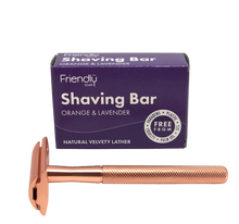 Load image into Gallery viewer, Reusable Safety Razor + Shaving Bar Kit - Rose Gold