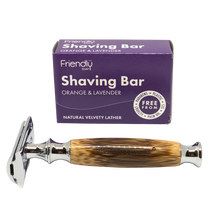 Load image into Gallery viewer, Bamboo Safety Razor + Shaving Bar Kit