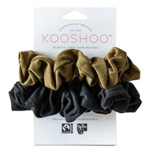 Load image into Gallery viewer, Plastic Free, Organic Hair Scrunchies - Olive and Black