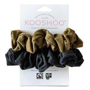 Plastic Free, Organic Hair Scrunchies - Olive and Black