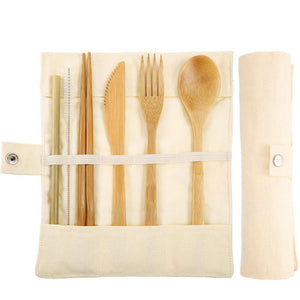 Bamboo Cutlery Set - Fork, Knife, Spoon, Straw & Chopsticks
