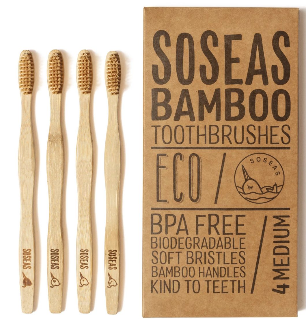 Pack of 4 Bamboo Toothbrush - One Year Supply